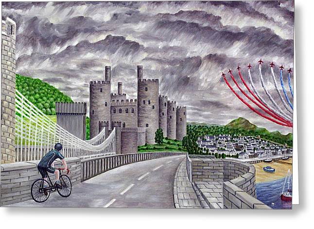 Red Arrows At 1000 Feet Over Conway Castle Greeting Card by Ronald Haber