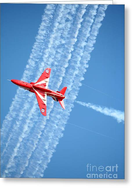 Red Arrows At Lowestoft Greeting Card by Paul Cowan