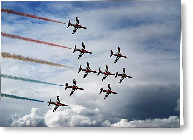 Red Arrows In Typhoon Formation Greeting Card by Mark Rogan