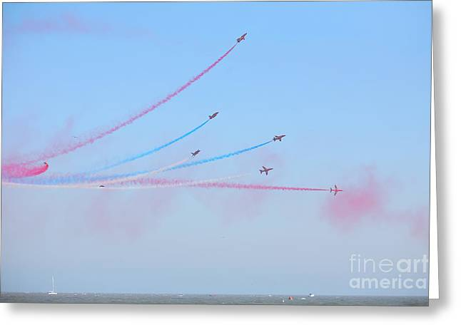 Red Arrows Over The Sea Greeting Card by Paul Cowan