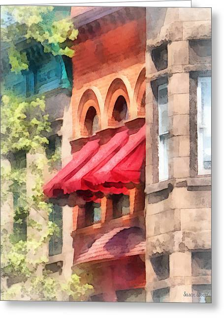 Hoboken Nj - Red Awnings On Brownstone Greeting Card