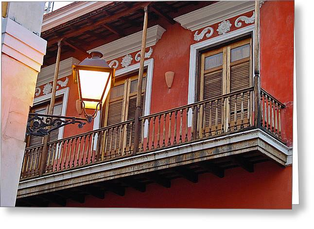 Red Balcony Greeting Card