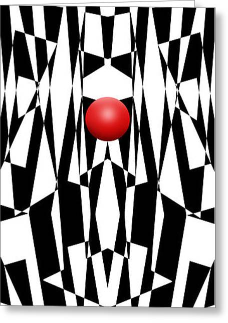 Red Ball 21 V Panoramic Greeting Card by Mike McGlothlen