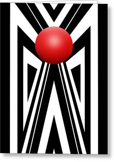 Red Ball 7 V Panoramic Greeting Card