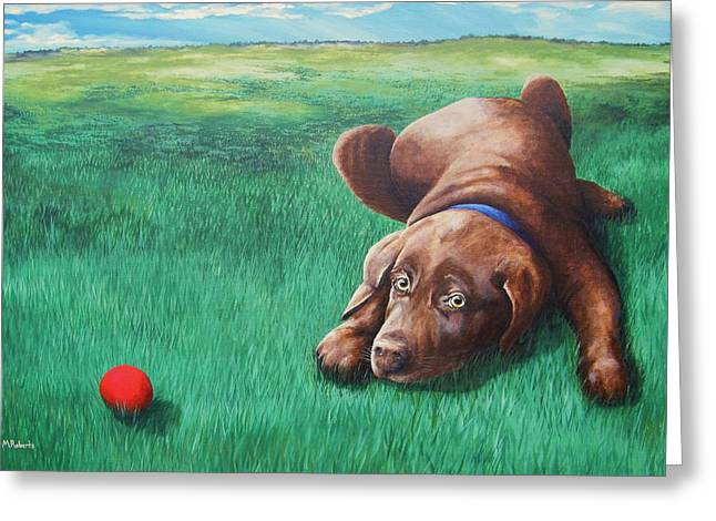 Red Ball Greeting Card by Mark Alan Roberts