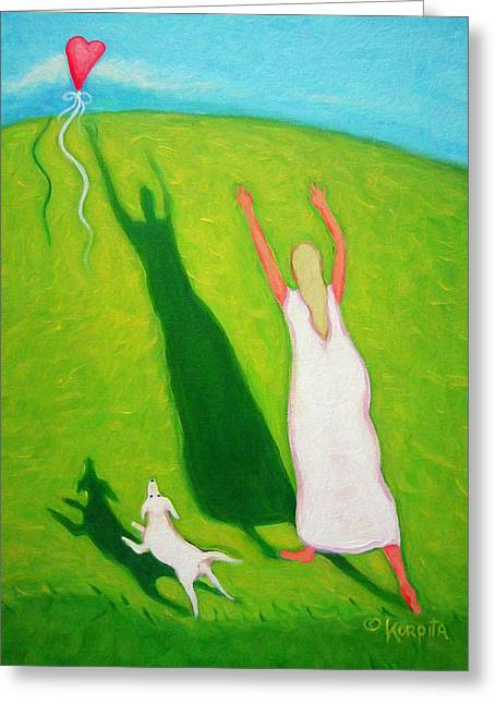 Red Balloon Woman Love White Dog - Letting Go Greeting Card by Rebecca Korpita