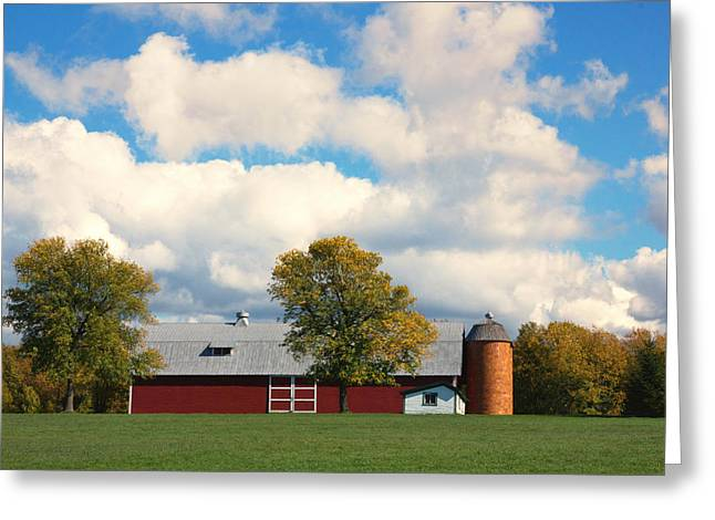 Red Barn And Clouds Greeting Card