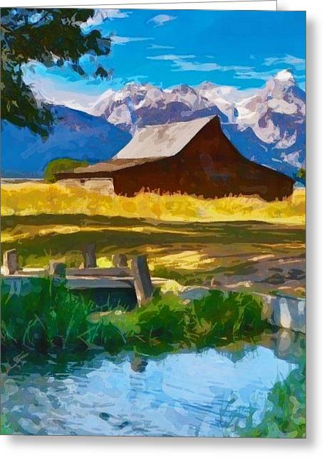 Red Barn And Mountains  Greeting Card