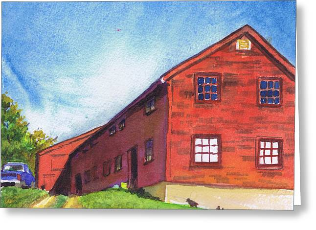 Greeting Card featuring the painting Red Barn Apple Farm New Hampshire by Susan Herbst