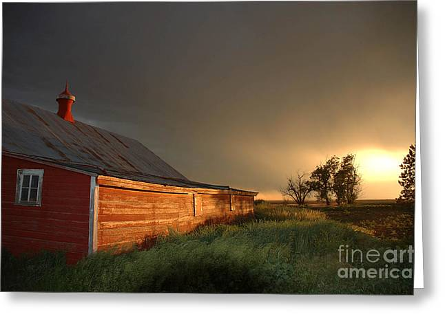 Red Barn At Sundown Greeting Card by Jerry McElroy