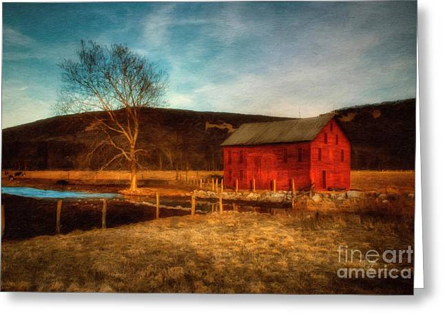 Red Barn At Twilight Greeting Card by Lois Bryan