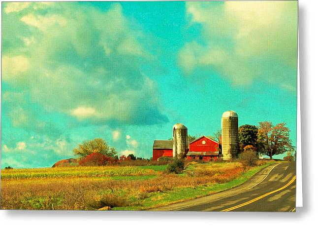 Red Barn Blue Sky Greeting Card by Brooke T Ryan