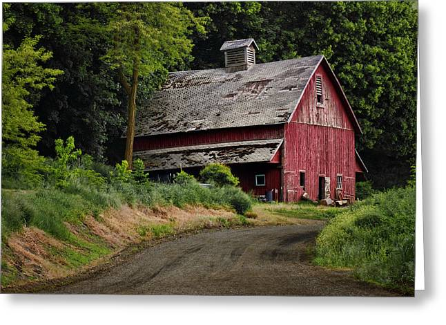 Red Barn - County Road  Greeting Card