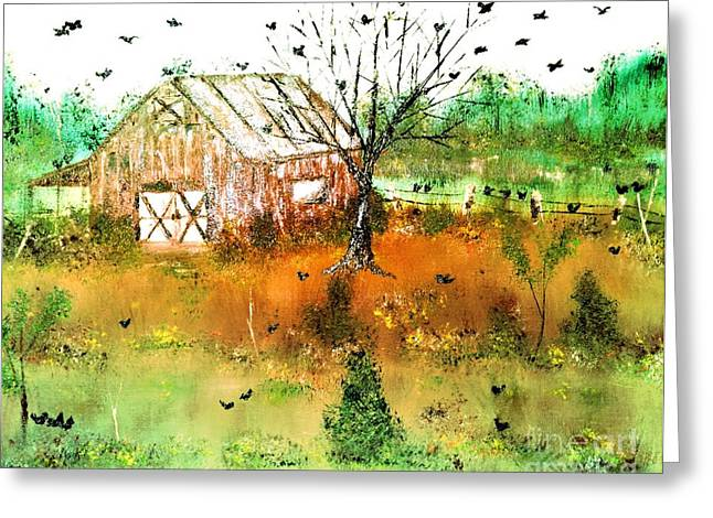 Greeting Card featuring the painting Red Barn by Denise Tomasura