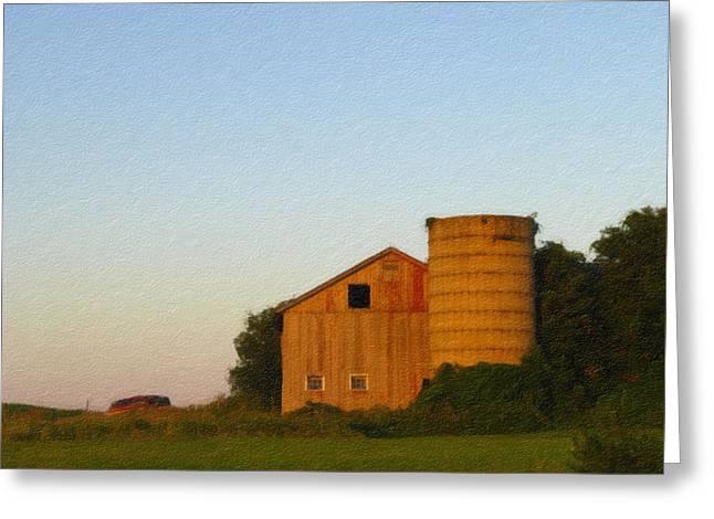 Red Barn - Digital Painting Effect Greeting Card by Rhonda Barrett