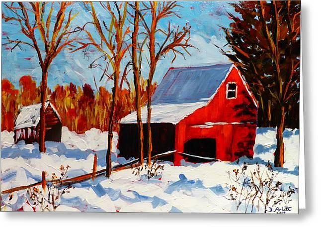 Red Barn First Snow Greeting Card by Diane Arlitt