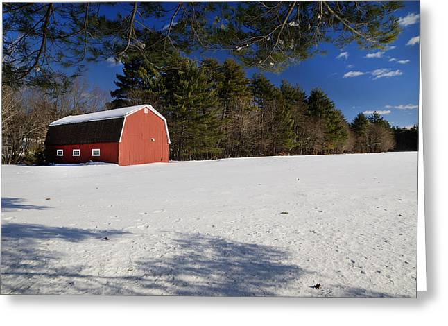 Red Barn In Hollis Greeting Card by Lee Fortier