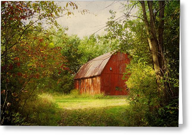 Red Barn In The Woods Greeting Card by Shawna Rowe