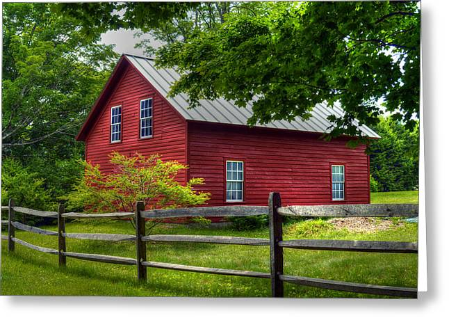 Red Barn In Tyringham - Berkshire County Greeting Card