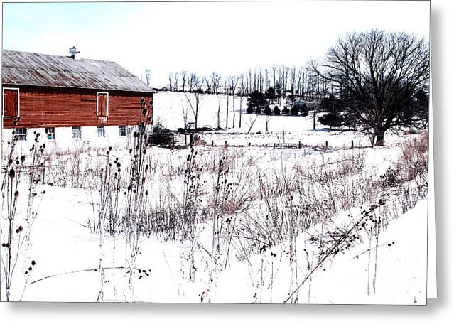 Red Barn In Winter Greeting Card by Gemblue Photography