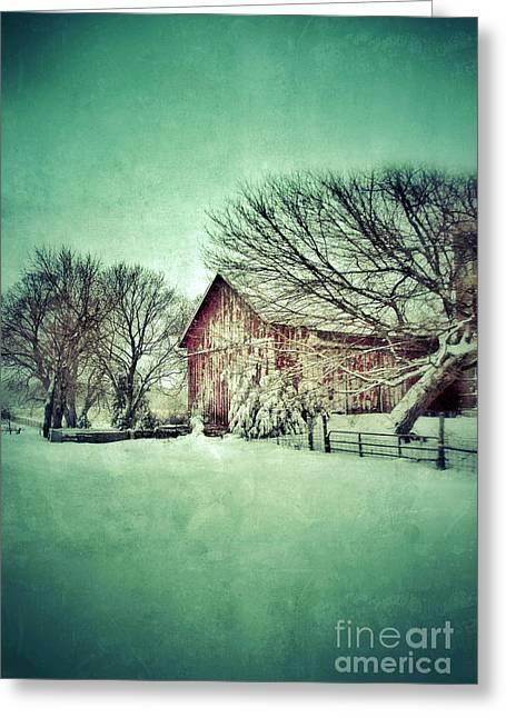 Red Barn In Winter Greeting Card by Jill Battaglia