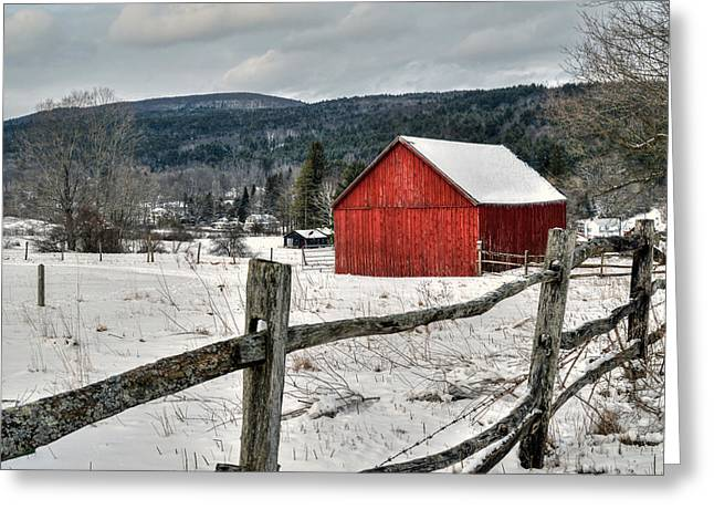 Red Barn In Winter - Tyringham Cobble Greeting Card by Geoffrey Coelho