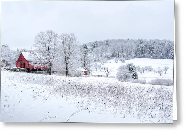 Red Barn In Winter Wonderland Greeting Card by Donna Doherty