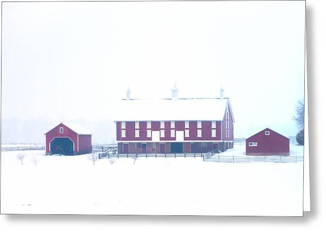 Red Barn On A Snowy Day - Gettysburg Greeting Card by Bill Cannon