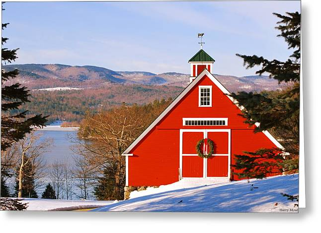 Red Barn On Newfound Lake Greeting Card