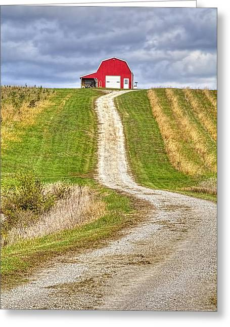 Red Barn On The Hill Greeting Card