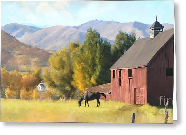 Greeting Card featuring the painting Red Barn by Rob Corsetti