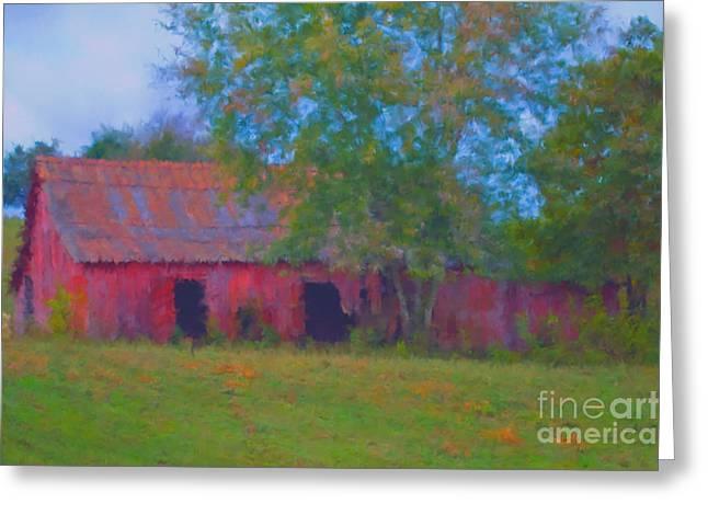 Red Barn Seven Greeting Card by Ken Frischkorn