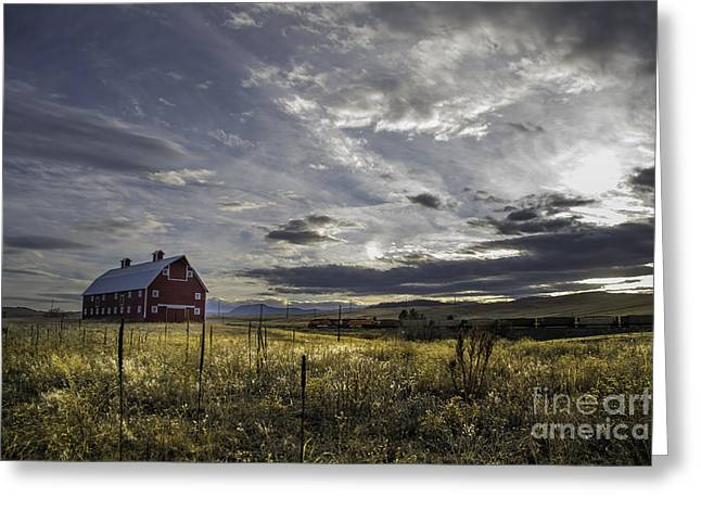 Red Barn Southbound Train Greeting Card