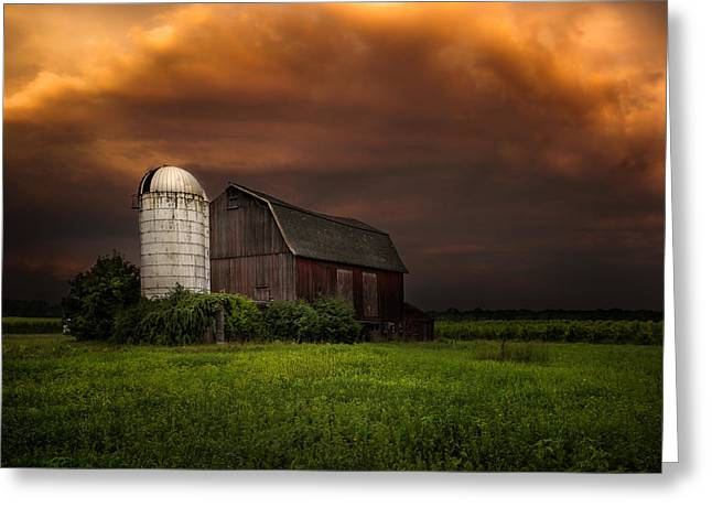 Greeting Card featuring the photograph Red Barn Stormy Sky - Rustic Dreams by Gary Heller