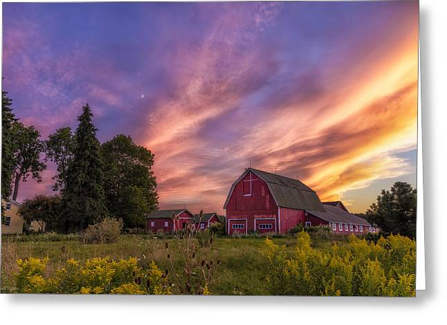 Red Barn Sunset 2 Greeting Card by Mark Papke