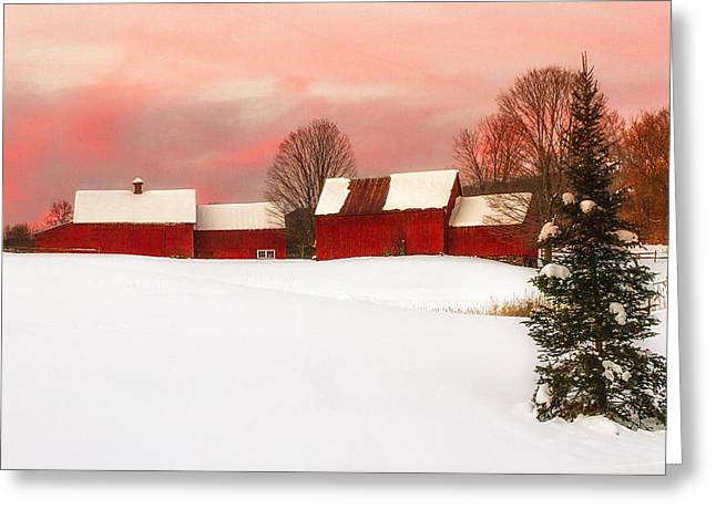 Red Barn Sunset Greeting Card