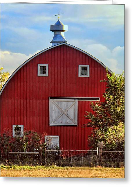 Red Barn Greeting Card by Sylvia Thornton