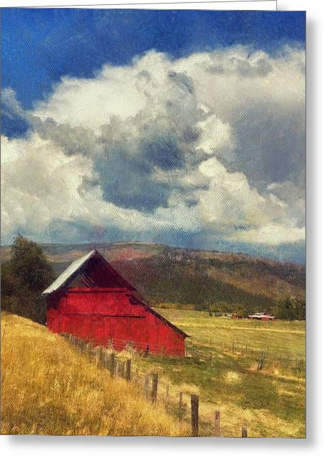Red Barn Under Cloudy Blue Sky In Colorado Greeting Card