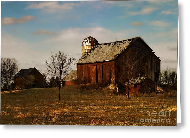 Red Barn - Waupaca County Wisconsin Greeting Card by David Blank