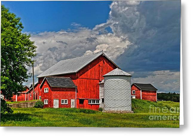 Red Barn White Silo Greeting Card by Trey Foerster