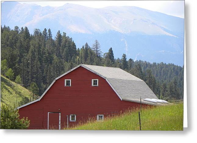 Greeting Card featuring the photograph Barn - Pikes Peak Burgess Res Divide Co by Margarethe Binkley
