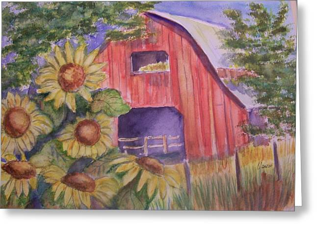 Red Barn With Sunflowers Greeting Card