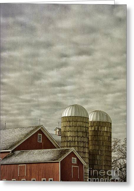 Red Barn With Two Silos Greeting Card