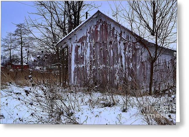 Red Barns In Winter Greeting Card