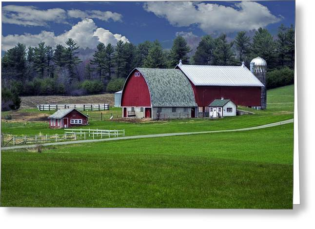 Red Barns Greeting Card by Judy  Johnson
