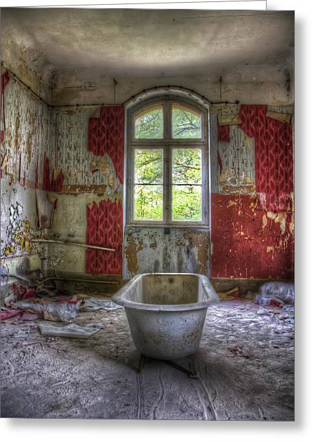 Red Bathroom Greeting Card by Nathan Wright