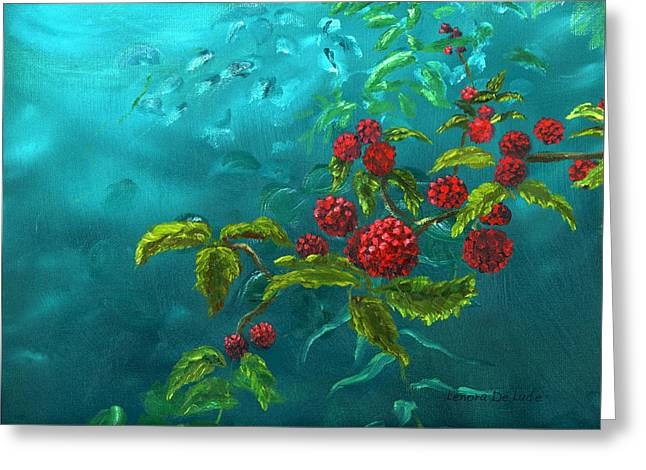 Red Berries In Blue Green Painting Greeting Card