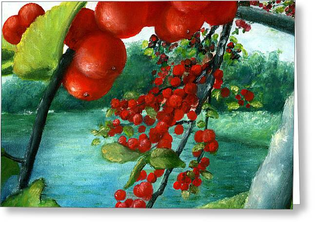 Greeting Card featuring the painting Red Berry Tree On Louisiana Pond by Lenora  De Lude