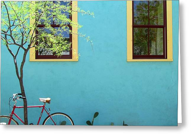 Red Bicycle Greeting Card by Brenda Pressnall