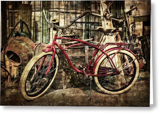 Red Bike Greeting Card by Debra and Dave Vanderlaan